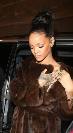 Rihanna arriving at Cafe Royal in London, 1st December 2014. #rihanna
