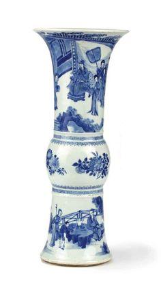 A Chinese blue and white gu-shaped beaker vase, Kangxi (1662-1722), with Jiajing six character mark to the base