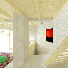 Houten open trap in de woonruimte met een betonvloer en betonstenen wanden ontworpen door De Nieuwe Context.