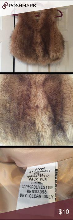 Brown fur vest! Classy and stylish fur vest! (Faux fur) Vintage Havana Jackets & Coats Vests