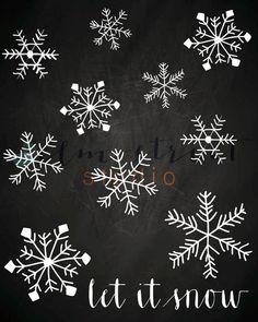 Let It Snow Chalkboard Print/ Typography by ElmStStudioPrints