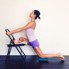 Simhasana 2 has two main components: lotus pose and backbending. Start by preparing the legs for external rotation at the hips. Take this pigeon prep on a chair to both open the hip and stretch the back quadriceps.
