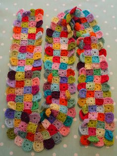 crochet scarf with tiny colored granny square motifs! (great stash buster project  -Lee Ann H (cgli.us)