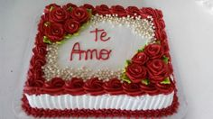 Ideas For Birthday Cake Flower Square Valentines Cakes And Cupcakes, Valentine Cake, Homemade Valentines, Cake Icing Tips, Buttercream Cake, Button Cake, 50th Anniversary Cakes, Pastel Cakes, Quinceanera Cakes