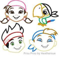 Children Pirates FOUR design SET Machine Applique Embroidery Design, multiple sizes including 4 inch