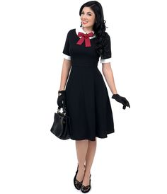 1950s Style Black Swing Dress #uniquevintage