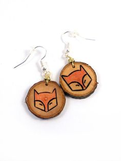 Fox Earrings Wood Slice Earrings Wooden Earrings by LadyDryad