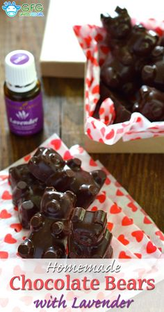 Homemade Dark Chocolate Candy Bears with Lavender Oil| ://www.grassfedgirl.com/homemade-dark-chocolate-candy/