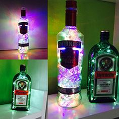upcycled jager and smirnoff bottle