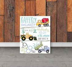 Construction theme Nursery Birth stats Birth details, Tractor Birthday Party, Road crew, Road work, baby boy gift, Baby shower, Boys room