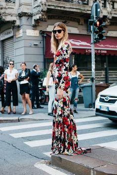 Floral Dress | Milan Fashion Week Street Style