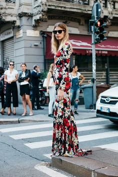Floral Dress | Milan Fashion Week Street Style