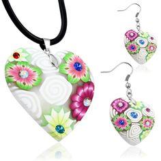 Dámský náhrdelník a náušnice Washer Necklace, Pendant Necklace, Jewelry, Fimo, Jewlery, Bijoux, Schmuck, Jewerly, Jewels
