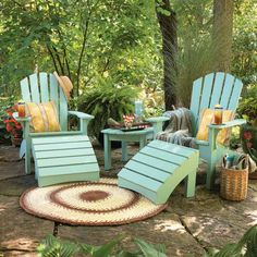 Durable Finish for Outdoor Furniture ~ Steve worked so hard to build our cedar Adirondack chairs for the firepit . . . I want to preserve them for a long time. This will be my project early summer.