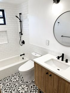 Beautiful bathroom decor a few ideas. Modern Farmhouse, Rustic Modern, Classic, light and airy master bathroom design a few ideas. Bathroom makeover tips and bathroom remodel suggestions. Guest Bathrooms, Upstairs Bathrooms, Bathroom Renos, White Bathroom, Bathroom Renovations, Rental Bathroom, Guest Bathroom Remodel, Restroom Remodel, Small Bathroom With Tub