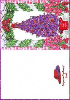 RED AND PURPLE CHRISTMAS TREE CARD Purple Christmas Tree, Christmas Tree Cards, Christmas Villages, Red Hat Ladies, Wearing Purple, Red Purple, Pink, Red Hat Society, Little Red Hen