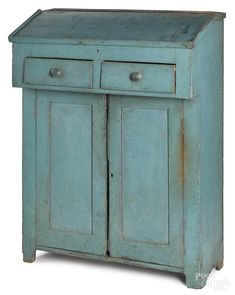 New England painted pine jelly cupboard by Pook & Pook, Inc - 1046395 Painting Antique Furniture, Vintage Furniture, Painted Furniture, Furniture Design, Blue Furniture, Bedroom Furniture, Furniture Ideas, Cupboard Shelves, Cupboard Doors