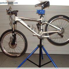 Picture of DIY Portable Bike Repair Stand Bike Work Stand, Bike Repair Stand, Bike Stands, Homemade Bike Stand, Build Your Own Bike, Bike Lift, Bike Challenge, Park Tool, Bike Tools