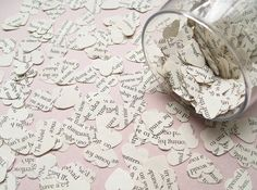 1000 Heart Book Novel Confetti - 22 choices include Jane Austen, Alice in Wonderland, Great Gatsby, Harry Potter, Shakespeare Wedding Decor Wedding Table Decorations, Heart Decorations, Wedding Table Settings, Wedding Tables, Wedding Ceremony, Shakespeare Wedding, Seating Plan Wedding, Seating Plans, Filling Balloons