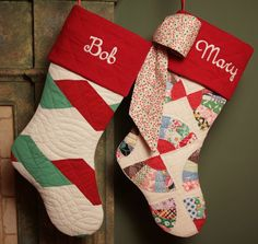 Christmas stockings from old quilts