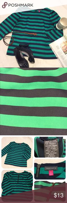 Vince Camuto Kelly green and Navy Striped top! Super cute! Dress it up for the office or even go casual! Size 8, fits a small/medium. Cute zipper on the back. 3/4length sleeves. Lightweight soft silky material. Second picture shows the colors accurately! Pre loved but in great condition. Vince Camuto Tops Blouses