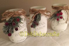 Christmas Mason jars/Rustic Christmas decorations Set of 3 chalk painted Mason jars will make a beautiful Christmas centerpiece on your mantle or Holiday table. These painted jars also make great Christmas gifts for holiday parties! Fill with fresh cut or Mason Jar Christmas Decorations, Christmas Table Centerpieces, Christmas Jars, Christmas Holidays, Jar Centerpieces, Christmas 2019, Christmas Trees, Homemade Christmas, Table Decorations