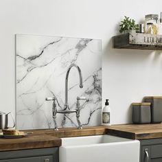 British Ceramic Tile Impact Geneva White Marble Splashback  c14cc1516