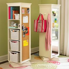 I want to learn to make this. Swivel bookcase and mirror. Would be great for small rooms or to maximize rooms with two or more kids in it. Each kid would have their own little shelf and mirror on a swivel? Hmm. Shouldn't be too hard to make right?