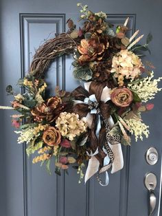 Your place to buy and sell all things handmade Excited to share this item from my shop: Elegant Fall Magnolia, Hydrangea and Rose wreath/Fall Door Decor/Bow with Leopard Print and Blue Easy Fall Wreaths, Diy Fall Wreath, Holiday Wreaths, Winter Wreaths, Spring Wreaths, Summer Wreath, Fall Door Wreaths, Fall Door Decorations, Fall Decor