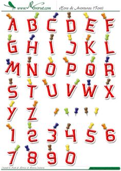 """Tipografía, abecedario o alfabeto """"Hora de Aventuras"""" completo, tipografía fina y biselada estilo cómic, color rojo y borde definido blanco con sombra suave y decorada con chinquetas de colores."""