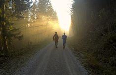 #Hochgern-Tour November 2014: zurück in das vernebelte Tal. Zusammen mit Bergläufer Georg Barczewski.