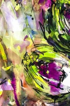 Abstract Artichoke Intuitive Ink and Watercolor by @ginetteart   Contemporary wall art available on imagekind.com