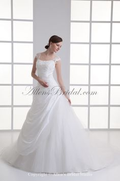 Taffeta Square Neckline A-line Sweep Train Embroidered Wedding Dress on sale at affordable prices, buy Taffeta Square Neckline A-line Sweep Train Embroidered Wedding Dress at AllensBridal.com now!