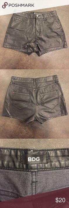 BDG Mid/ Hi rise black leather shorts. BDG Mid/ Hi rise black leather shorts.  They are faux leather.  Love these and wish I could keep but they don't fit :( BDG Shorts