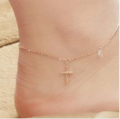 Han edition Rose fringed single  crystal cross anklets titanium steel stud earrings Mosaic gold do not fade $8.00