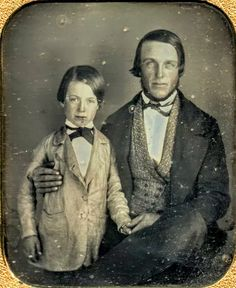 Sweet daguerreotype of father and son