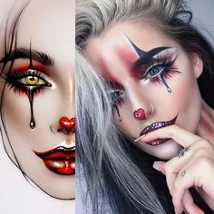 Makeup ideas Halloween – Great Make Up Ideas Mime Makeup, Costume Makeup, Pop Art Costume, Makeup Eyes, Makeup Art, Beauty Makeup, Cute Halloween Makeup, Halloween Makeup Looks, Cute Clown Makeup