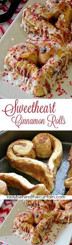 A perfect Valentine's Day breakfast for your family and loved ones. These are so easy to make too! Using store bought cinnamon rolls you to can create these fun festive Valentine's Day treats. Yummy Treats, Delicious Desserts, Sweet Treats, Breakfast Recipes, Dessert Recipes, Breakfast Ideas, Bacon Breakfast, Perfect Breakfast, Valentines Day Treats