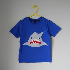 Shark Applique | Toothy Shark applique t shirt 4-5 years by cheekycharlieTs on Etsy
