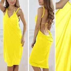 Solid Yellow Lady Summer Swimwear Bikini Cover Up Beach Sarong Wrap Scarf Dress #Unbranded #CoverUp #BeachSwimwearPoolBikiniCoverUp