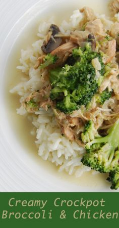 Creamy Crockpot Chicken and Broccoli -- This recipe uses the broccoli stalks too! Put this over rice or cauliflower rice.