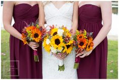 Maroon Bridesmaid Dresses & Sunflower Bouquets - Indian Trail Country Club - Tina Elizabeth Photography