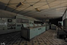 Abandoned control room in an abandoned powerplant