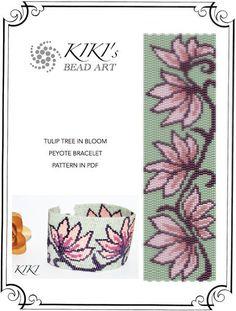 Pattern, peyote bracelet - Tulip tree in bloom flowery peyote bracelet pattern in PDF - instant download