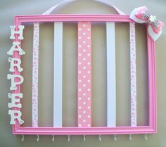 Pink and white 11x14 personzalized picture frame hair bow and headband organizer, childrens room decor on Etsy, $41.00