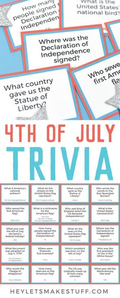How well do you know your early American history? This printable Fourth of July trivia is not only fun for history buffs, but makes a great game for patriotic parties! Includes both questions and answers.