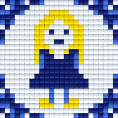 Delfstblauw meisje   Pixel Party Cloud And Tifa, Paper Piecing, Perler Beads, Diy Painting, Beading Patterns, Pixel Art, Quilt Patterns, Needlework, Hello Kitty