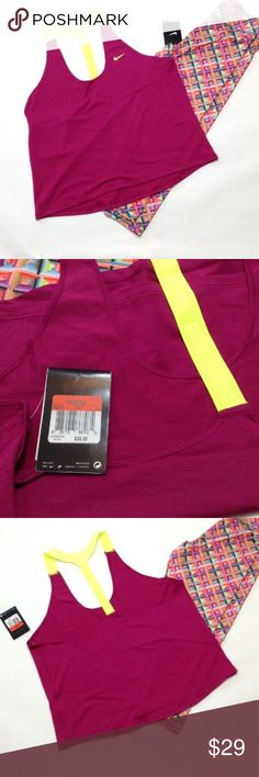 """Nike t strap dri fit loose fitting workout tank Magenta color with neon yellow strap. JUST DO IT logo on back strap! 👍🏻 24"""" length. Loose fitting. First pic represents true color. Nike Tops Tank Tops"""