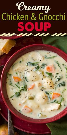 Chicken and Gnocchi Soup - this is the coziest way to warm up this season! It's filled with lots of potato gnocchi dumplings, tender pieces of chicken, fresh colorful veggies (like spinach and carrots) and it's all bathing in a rich and creamy broth. Chicken And Gnocci, Chicken Recipes, Creamy Chicken And Dumplings, Soups With Chicken Broth, Chicken Dumpling Soup, Cheesy Chicken, Jai Faim, Dumplings For Soup, Burger Recipes