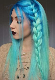 Bight blue and turquoise hair style. Blue mermaid hair ins… neon blue ombre hair. Bight blue and turquoise hair style. Dyed Hair Blue, Blue Ombre Hair, Blue Hair Colors, Long Hair Colors, Turquoise Hair Ombre, Dye Hair, Hair Bow, Cute Braided Hairstyles, Cool Hairstyles